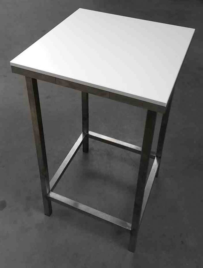 Stand by stôl, biely, rozmer 65 x 65 cm