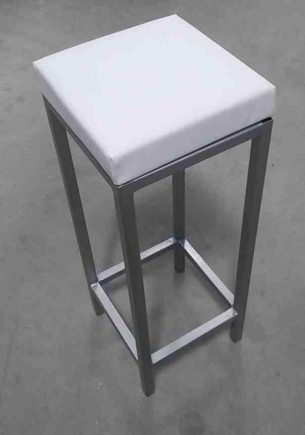 Barová stolička, biela čalúnená