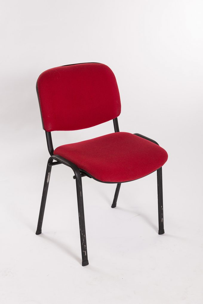 Stolička, čalúnená, červená