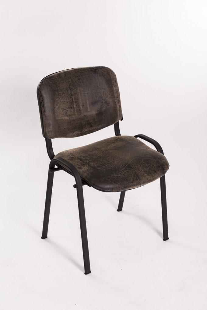 Stolička, čalúnená, hnedá