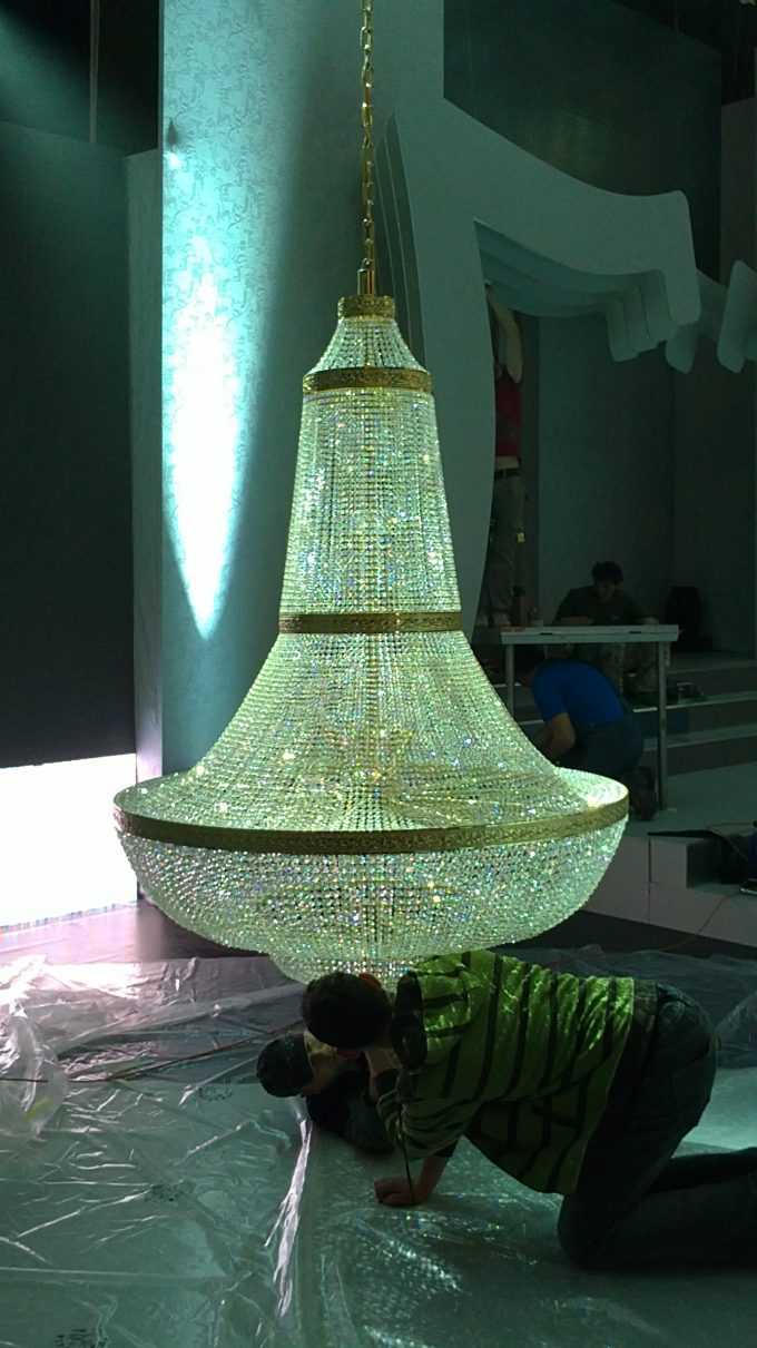Kryštálový luster 2 x 1,5 m