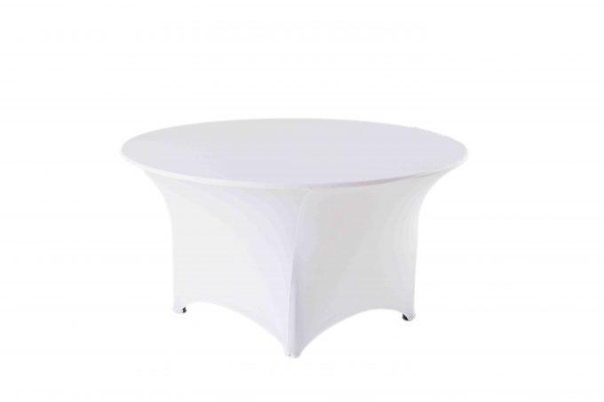 Kruhový stôl s bielym strečovým návlekom pre 4-8 osôb