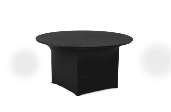 Kruhový stôl s čiernym strečovým návlekom pre 4-8 osôb