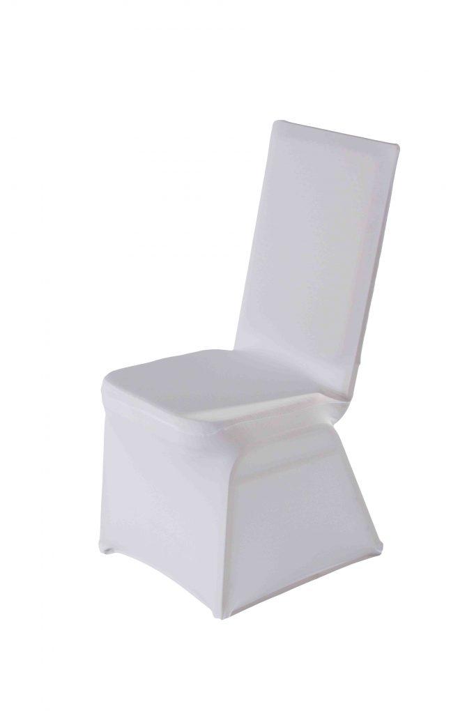 Stolička zlatá s bielym strečovým návlekom