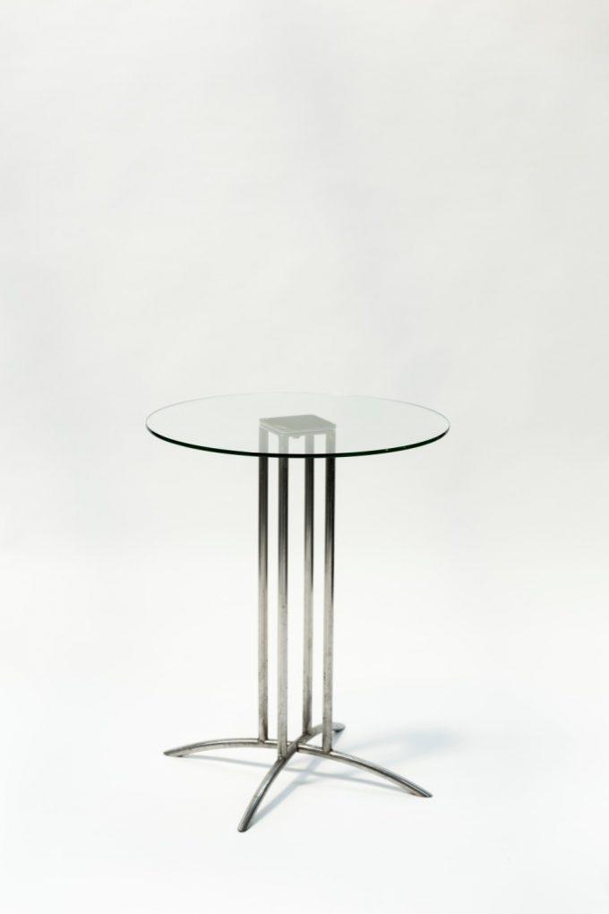 Kruhový kaviarenský stôl, sklenený