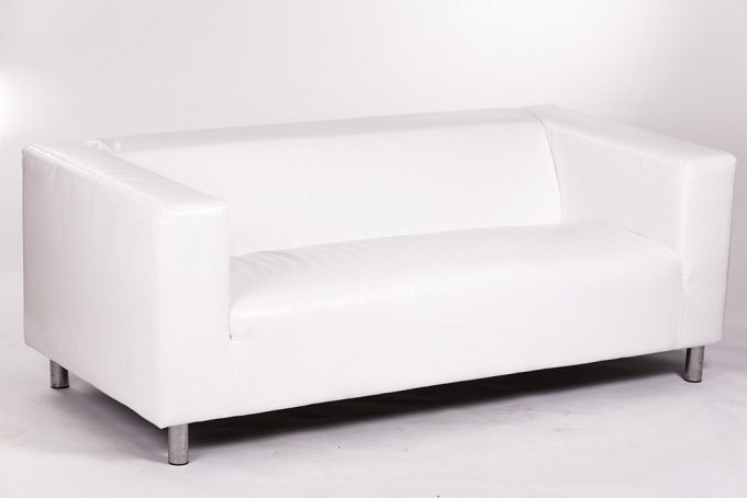 Kožená sofa, biela