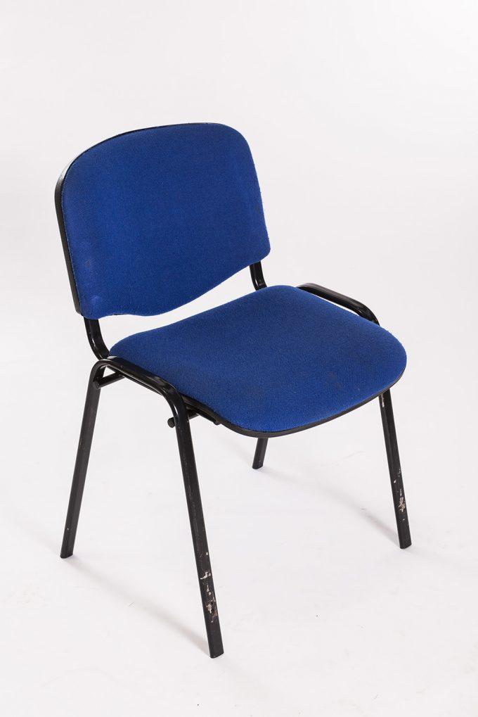 Stolička, čalúnená, modrá