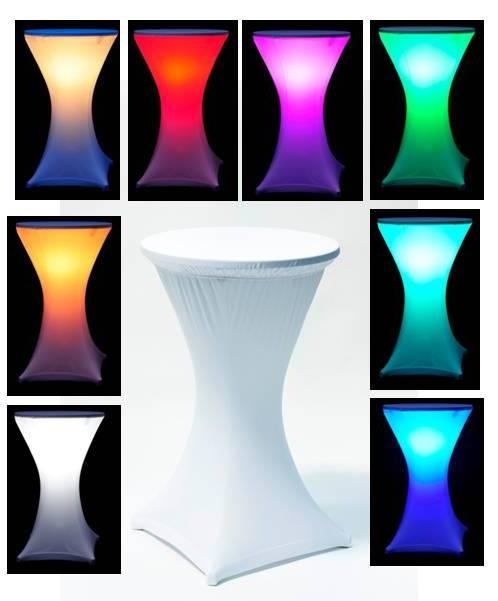 Stand by stôl s bielym strečovým návlekom, svietiaci RGB